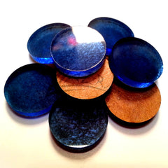 "(0.75"") DARK BLUE 3/4"" x 1/8"" Circles Acrylic Disc Jewelry Earrings"