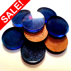 "SALE! (0.375"") DARK BLUE 3/8"" x 1/8"" Circles Acrylic Disc Jewelry Earrings - ON SALE 39% OFF!"