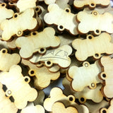"1.25"" x 1/8"" Wood Custom Dog Bones 2-Holes (1-1/4"")"