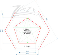 "Template Nested 4"" PENTAGON & HEXAGON 7"" Acrylic Plexiglas Quilt Stencil - 1/8"" Thick (2 pieces)"
