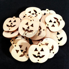 "Wood Holiday Halloween PUMPKIN Jack-O-Lanter 1.25"" 2-Holes (1-1/4"")"