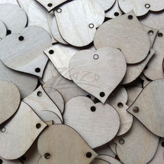 "THIN Wood HEARTS 1.25""x1/32"" 2-Hole Holiday"