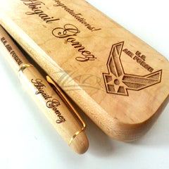Pen Box & Pen Maple Set Wooden Custom engraved - Personalized