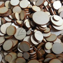 "Wooden Random 1/2 LB Small Solid Circles 1/8"" Craft Disc Flat Hard wood Shapes DISCOUNTED!"