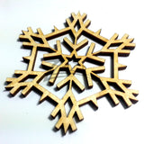 "Snowflake ""G"" Wood Holiday 3"" x 1/8"""
