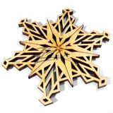 "Snowflake ""O"" Wood Holiday 1/8"" - ENGRAVING"
