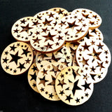 "Wood Holiday Stars Circles 1"" 2-Holes"