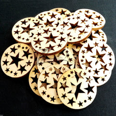 "Wood Holiday Stars Circles 1.25"" 2-Holes"
