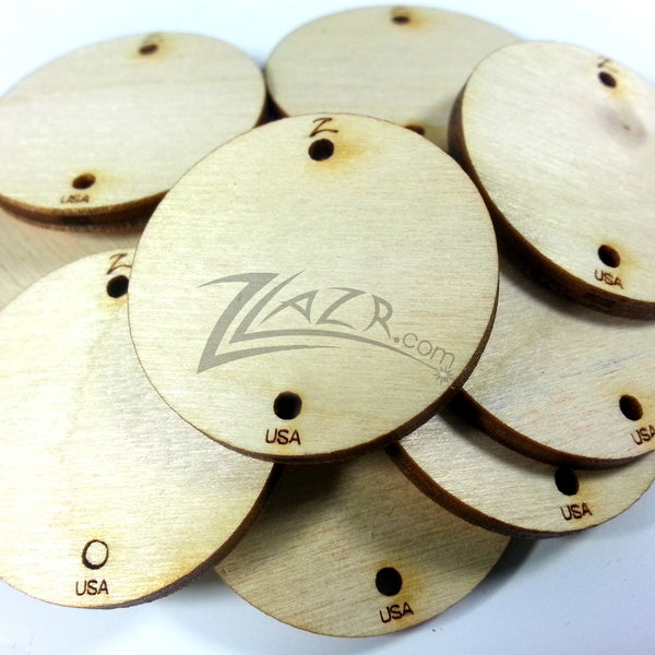 Usa 1 1 2 Quot X1 8 Quot Wooden Circle Disc Tag 2 Hole Family