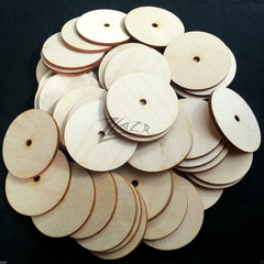 "2""x1/8"" Wooden Circle Disc Craft Board 1 Center Washer Hole (1/4"" Dia.) Doughnut Button"