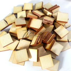 "Wood Small 1/2"" x 1/8"" Squares Craft Tags Flat Hard wood Shapes USA MADE!"