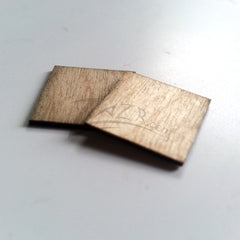 "Wood Small 3/4"" x 3/4"" THIN Squares Craft Tags Flat Hard wood Shapes USA MADE!"