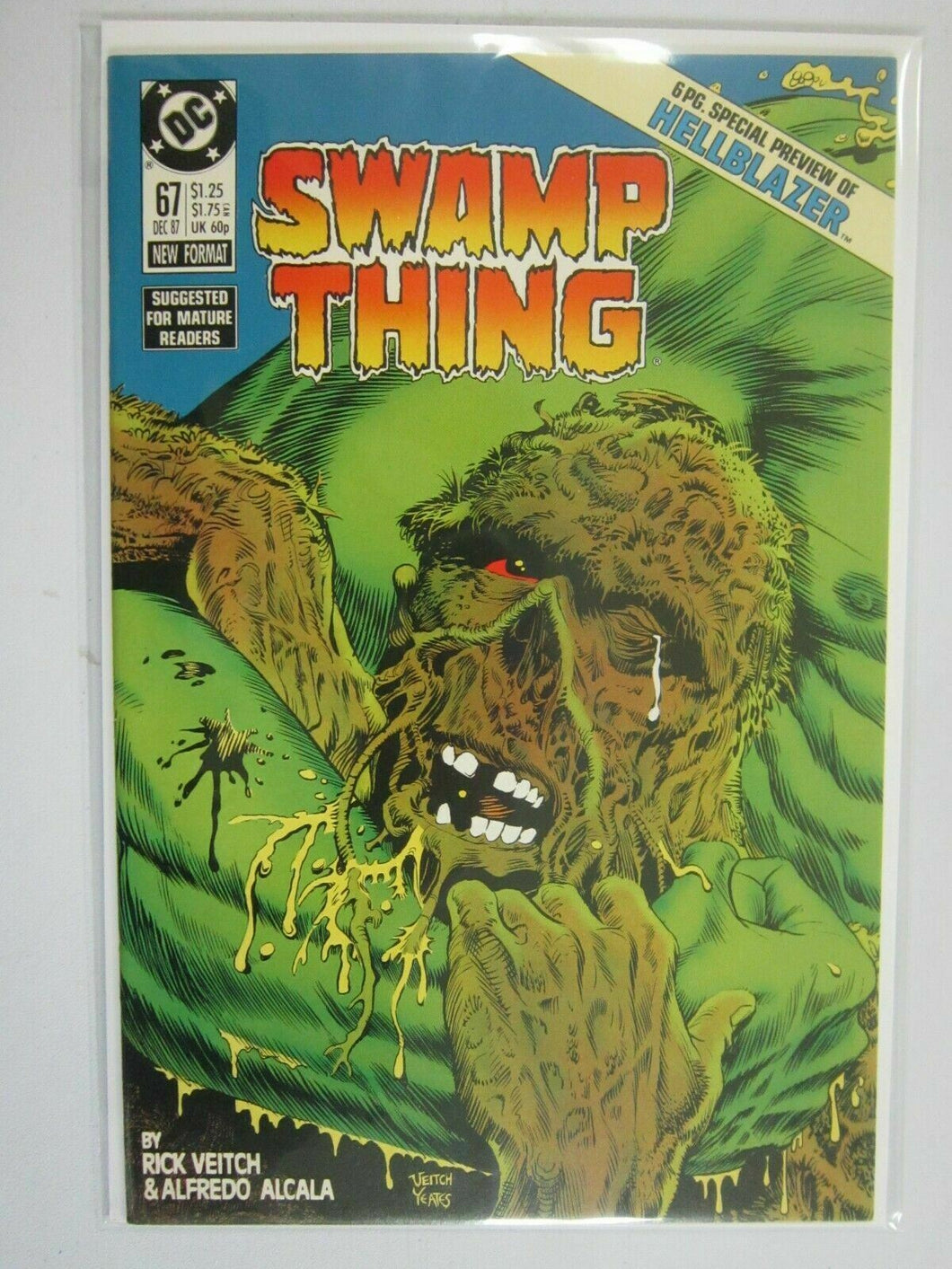 Swamp Thing #67 with Hellblazer preview 8.5 VF+ (1987 Vertigo)