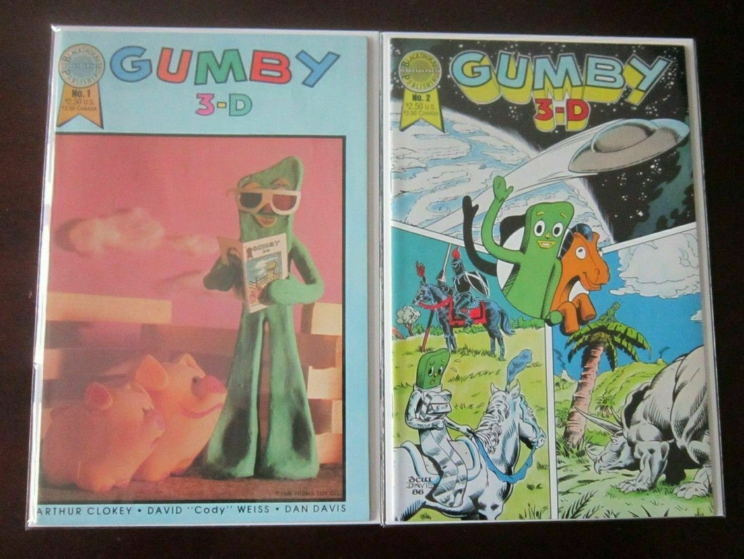 Gumby 3D comic lot from:#1-2 all 2 different 8.0 VF (1986)