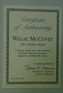 Willie McCovey autographed Baseball HOF 500 HR Club