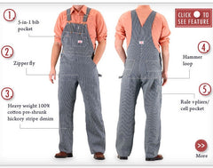 45 Specs American Made Overalls Made in USA Stripe