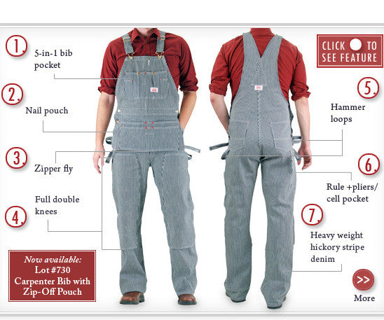 #73 Stripe Carpenter Overall DISCONTINUED (Replaced by #730 Stripe Carpenter Overall with Zip-Off Pouch)