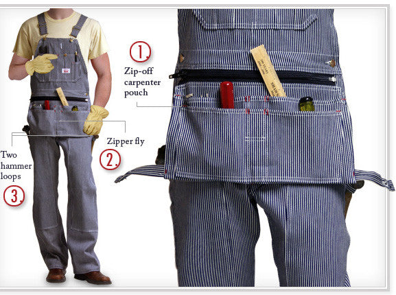 #730 Made in USA Stripe Carpenter Overall with Zip-Off Pouch