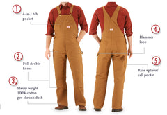 #83 Made in USA Heavy Duty Brown Duck Bib Overalls