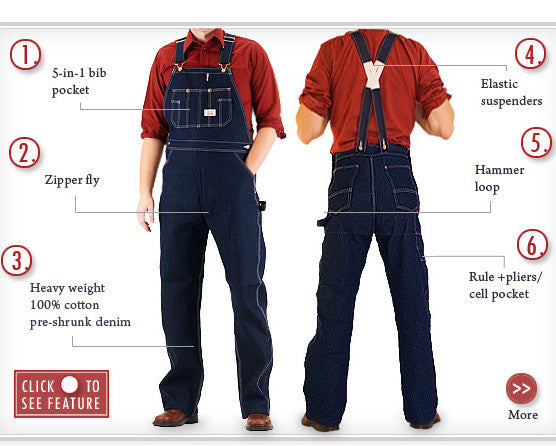 #907 Made in USA Low Back Blue Denim Bib Overalls