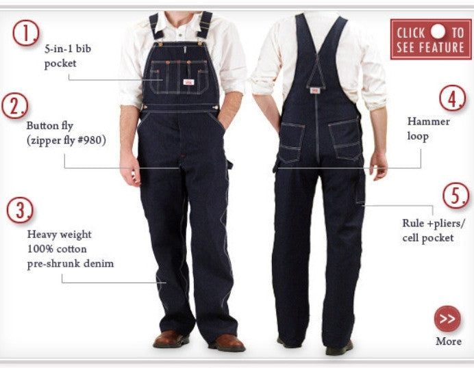 #966 Made in USA Classic Blue Denim Button Fly Bib Overalls