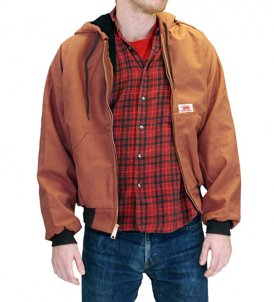 #1800 American Made Brown Duck Jacket Hooded 12 oz.