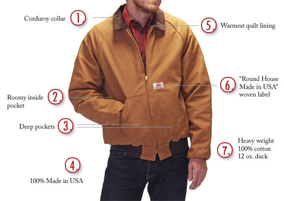 #1830 American Made Jacket Brown Duck Traditional 12 oz. Jacket Made in USA