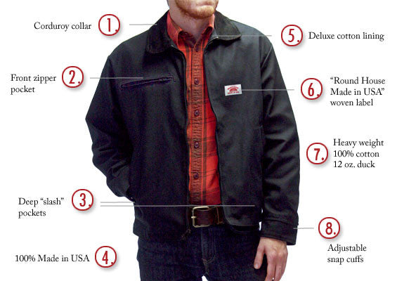 #1816 American Made Jacket 12 oz. Black Duck 'Oklahoma' Front Zipper Pocket Jacket Made in USA