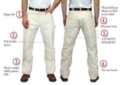#1101 Made in USA Natural Drill Double Front Painter Carpenter Dungaree Jean