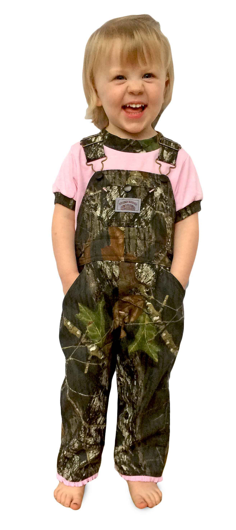 #428 Premium Pink Ruffle BIB OVERALL Girls in Realtree or Mossy Oak Break-Up Made in USA
