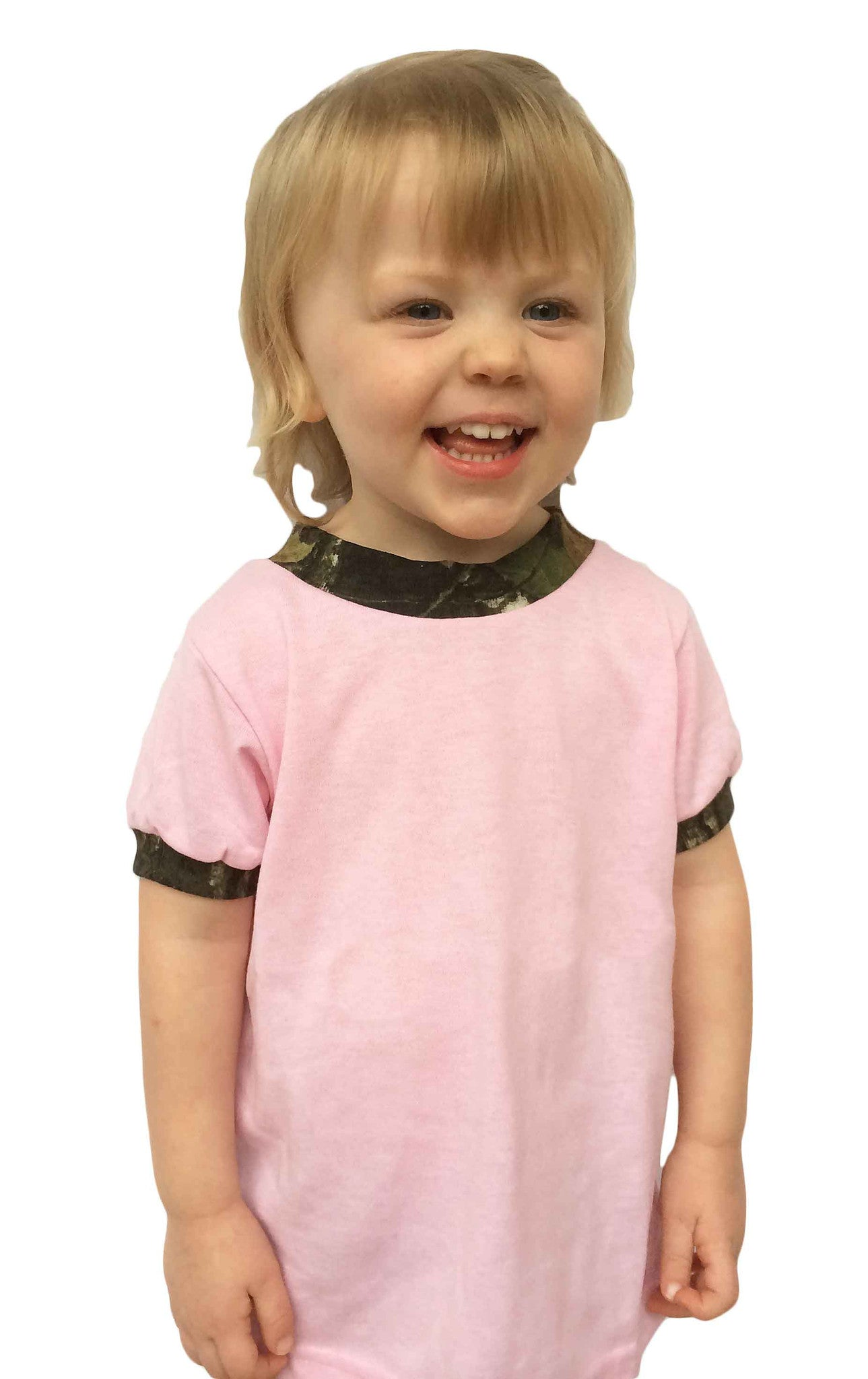 #423 Pink T-SHIRT with Mossy Oak Trim Made in USA