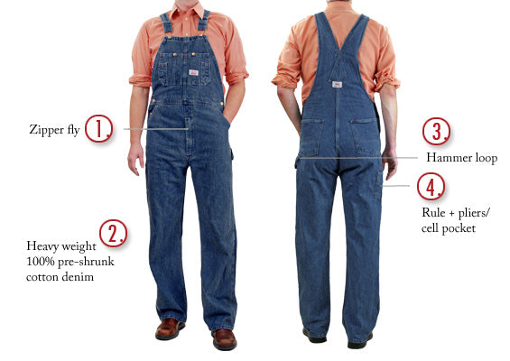 #699 Made in USA Stone Washed Blue Denim Overalls