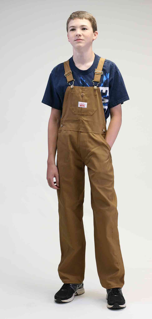 #983 Made in USA Boys Brown Duck Bib Overall