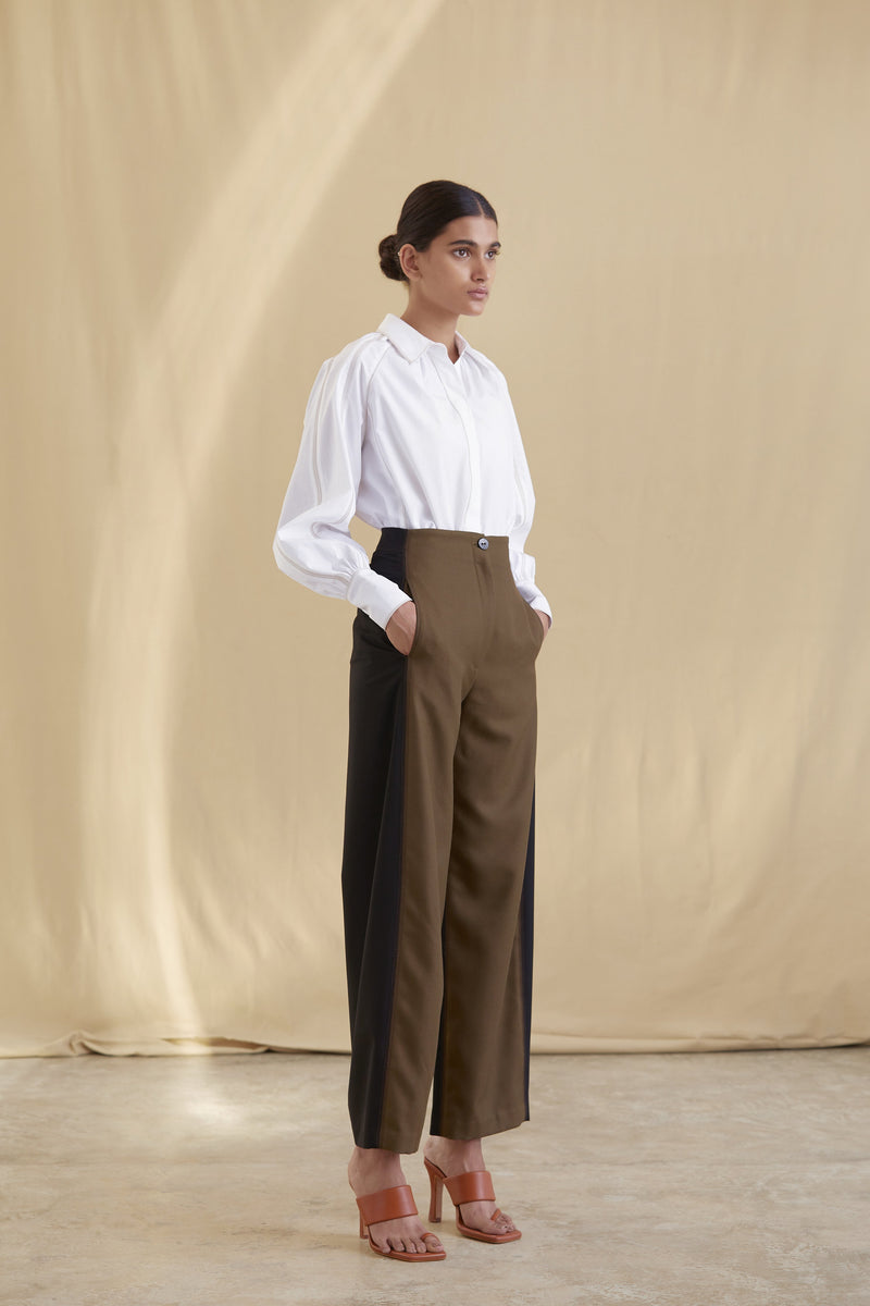 High waisted panelled trouser