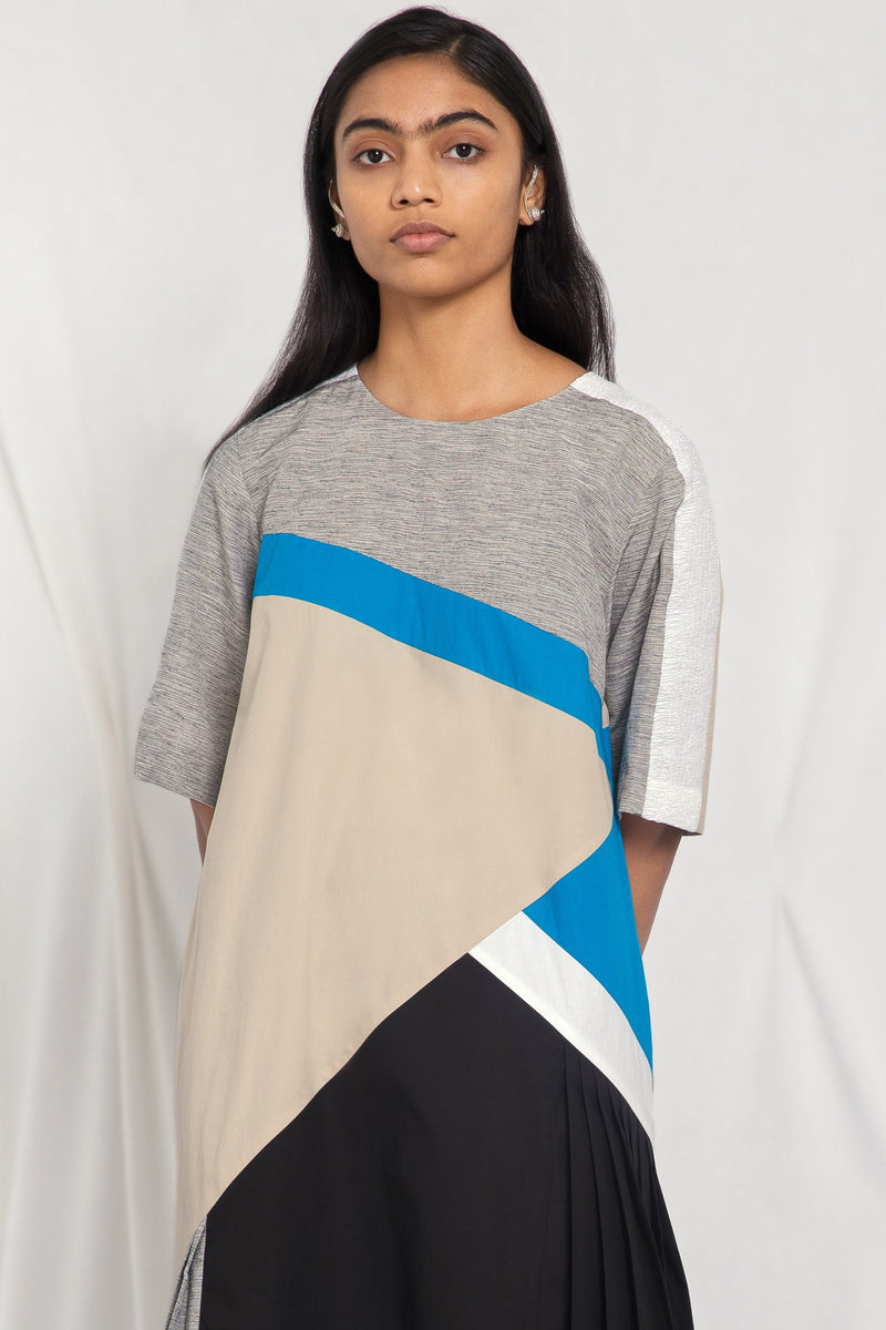 A-line colour-blocked dress