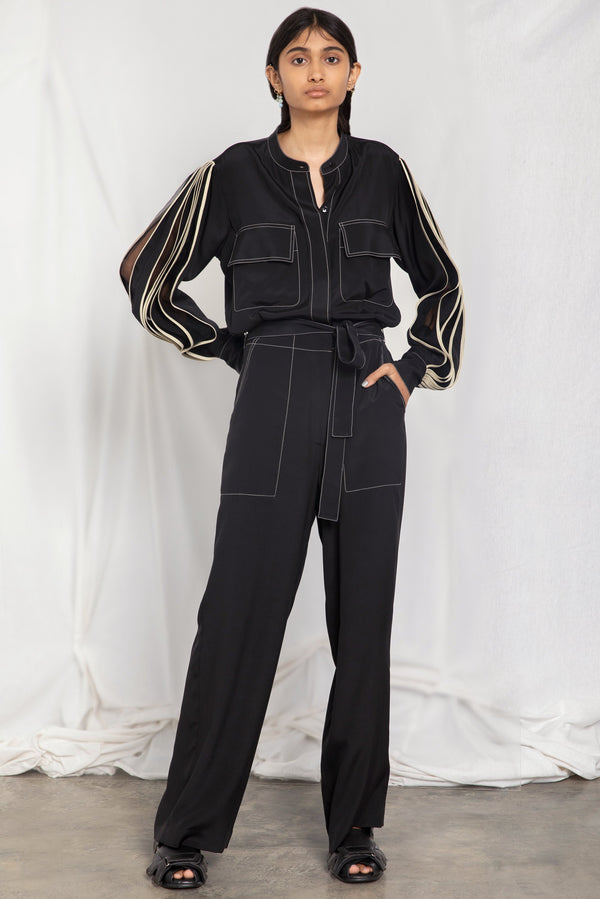 Jumpsuit with pleated sleeves
