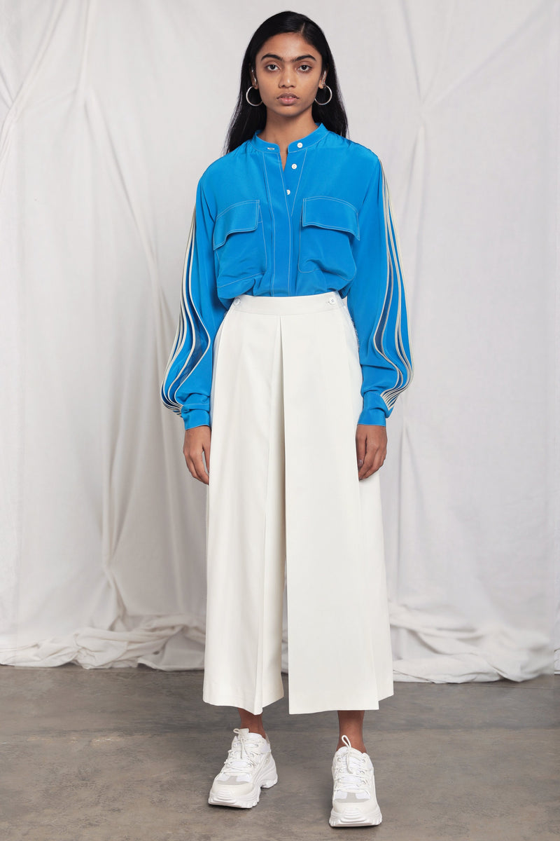 Band collar shirt with pleated sleeves