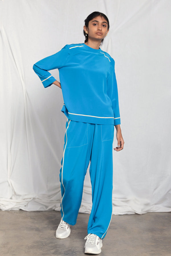 Silk pants with side seam detail