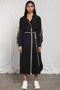 Belted shirt dress with pleated sleeves