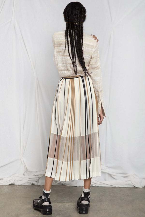 Silk skirt with multi-colour binding