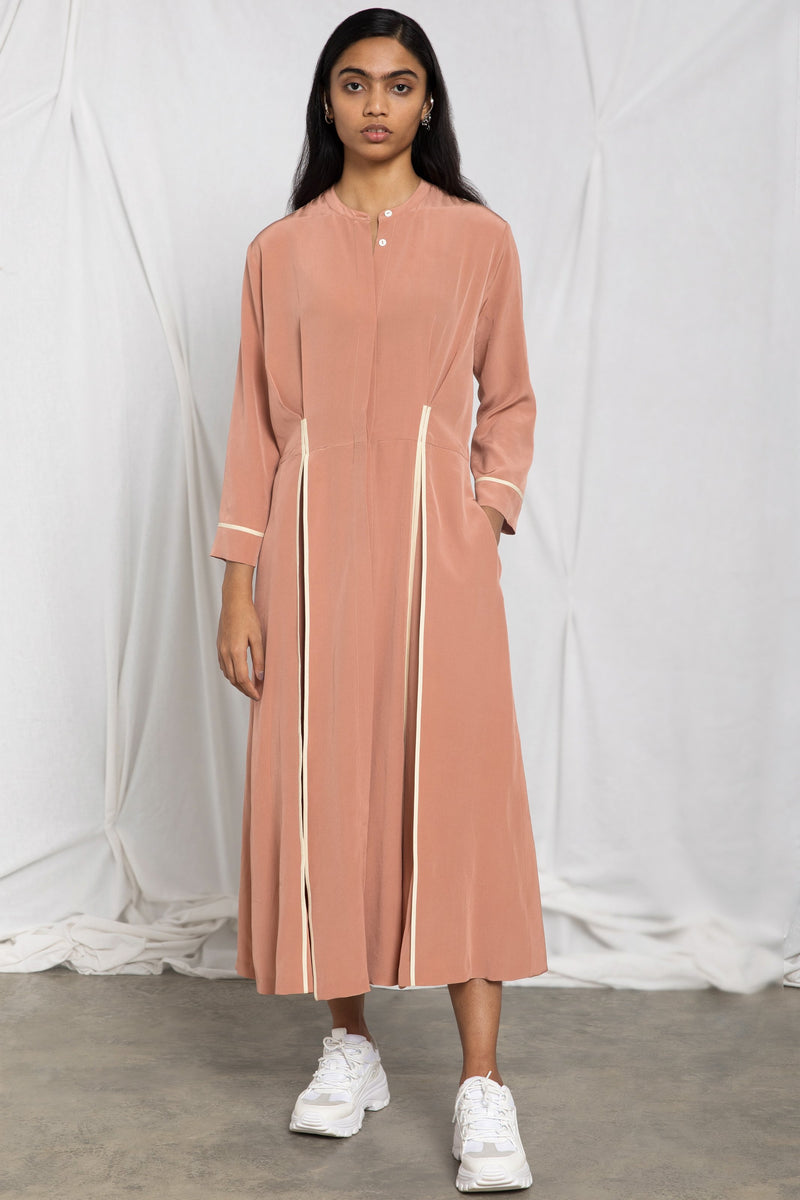 Silk shirt dress with hidden pleats