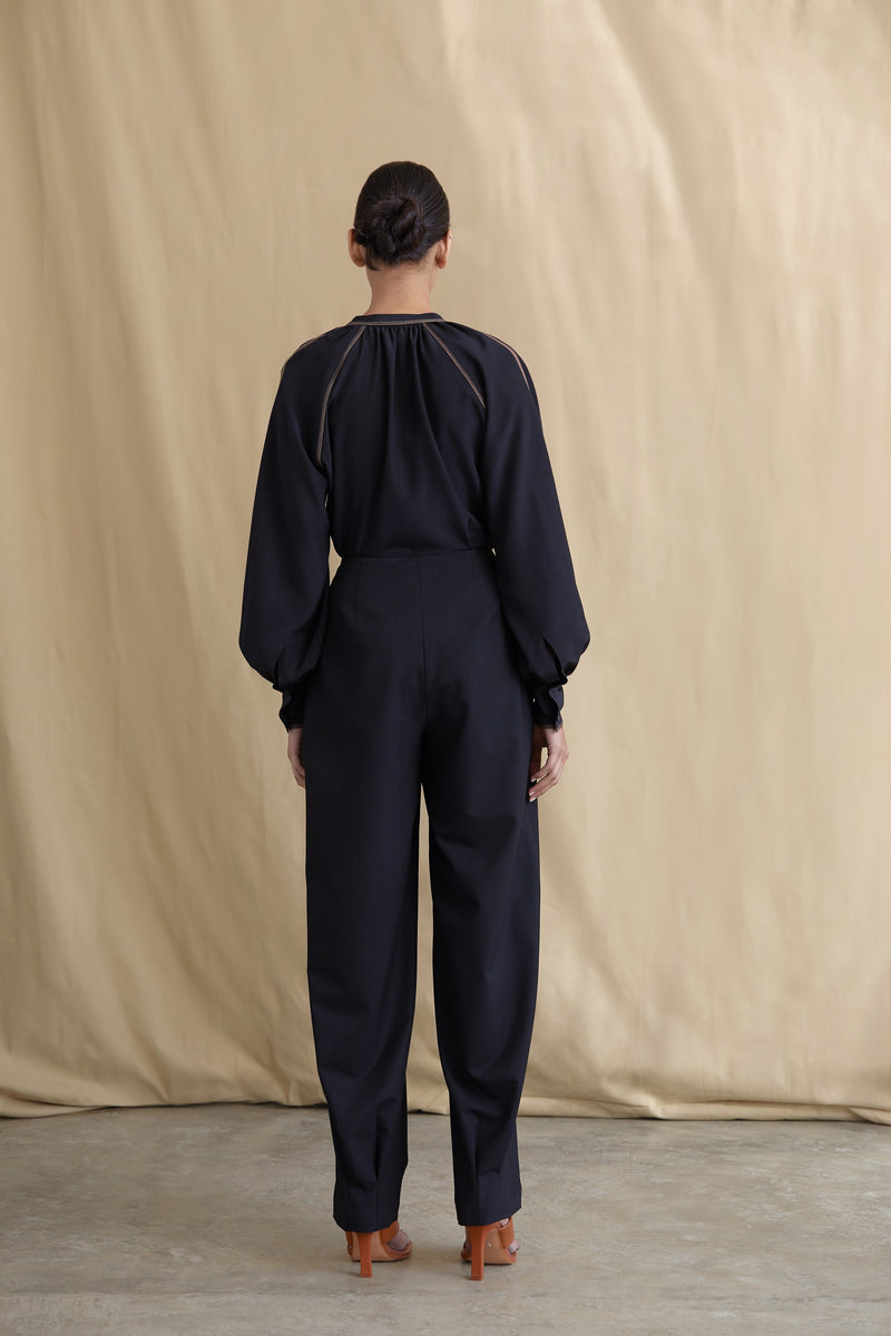 Double-pleated Wool Tailored Trousers