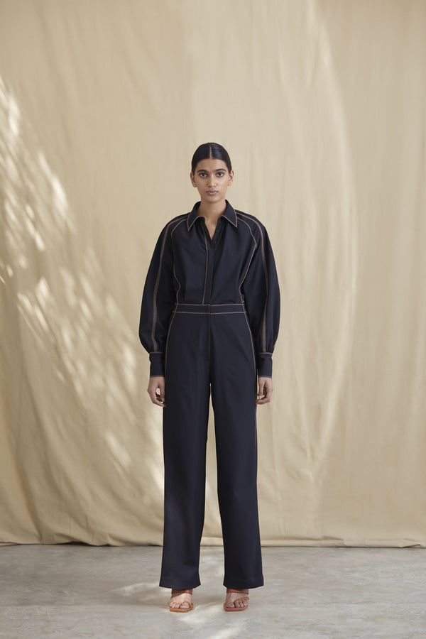 Wool Tailored Jumpsuit with Contrast Top-Stitch Detail