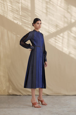 Denim Panelled Dress with Pleats