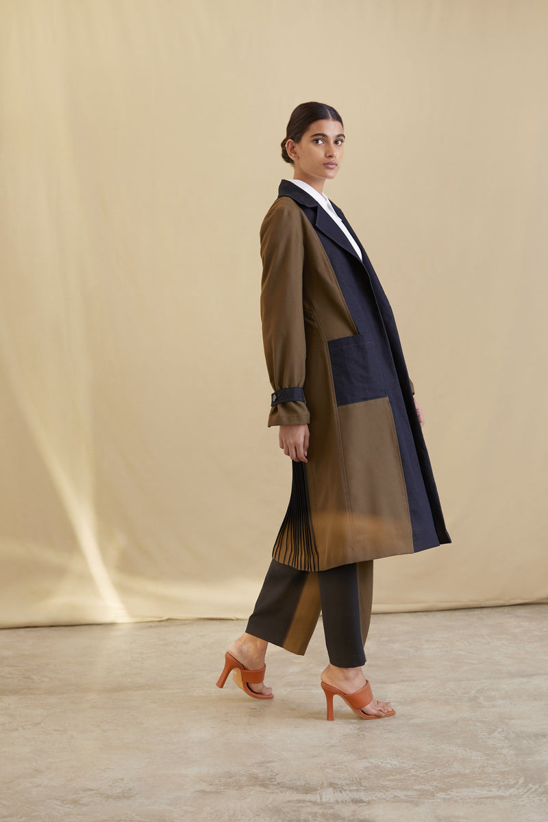 Colour-blocked Long coat