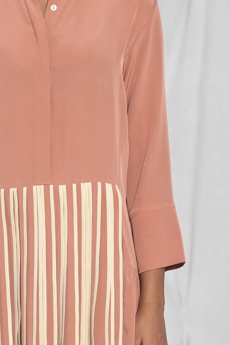 Front pleated shirt dress