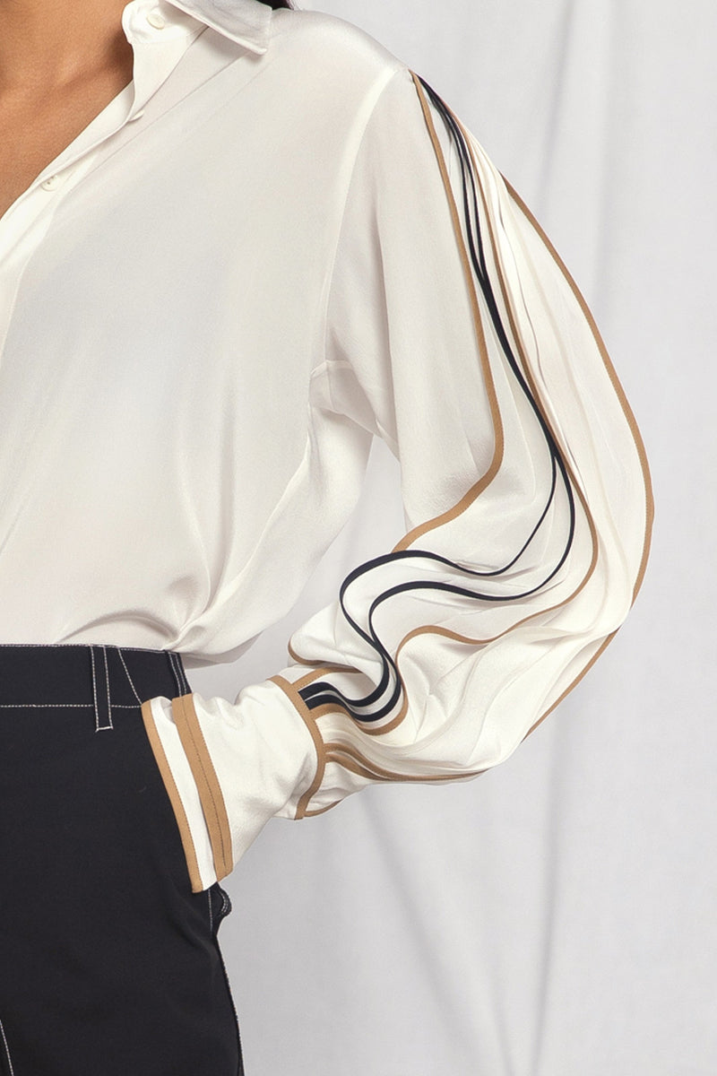 Shirt with pleated sleeves in multi-colour binding