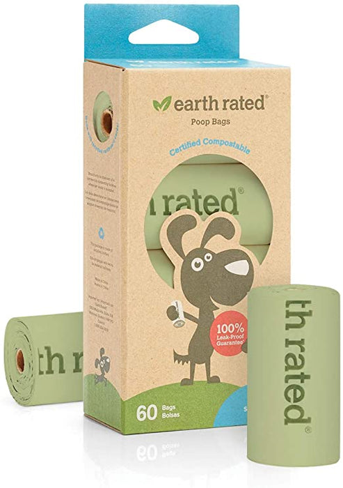 Earth Rated Compostable Rolled Poo Bags - 60