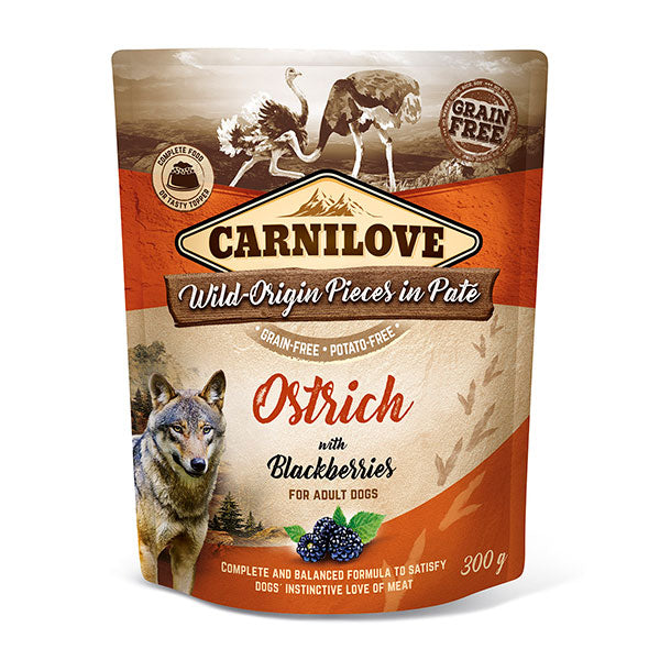 Carnilove Ostrich with Blackberries Wet Pouches 300g