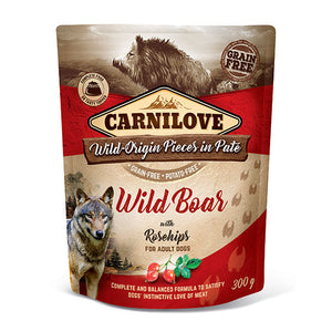 Carnilove Wild Boar with Rosehips Wet Pouches 300g